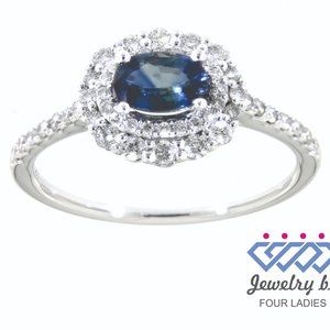 Blue Sapphire Diamond Double Halo Ring White Gold